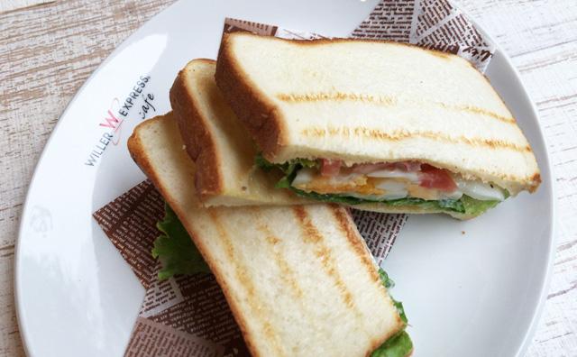 ウィラーエクスプレスカフェのサンドイッチ